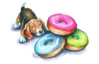 Beagle Puppy and Donuts Watercolor Illustration