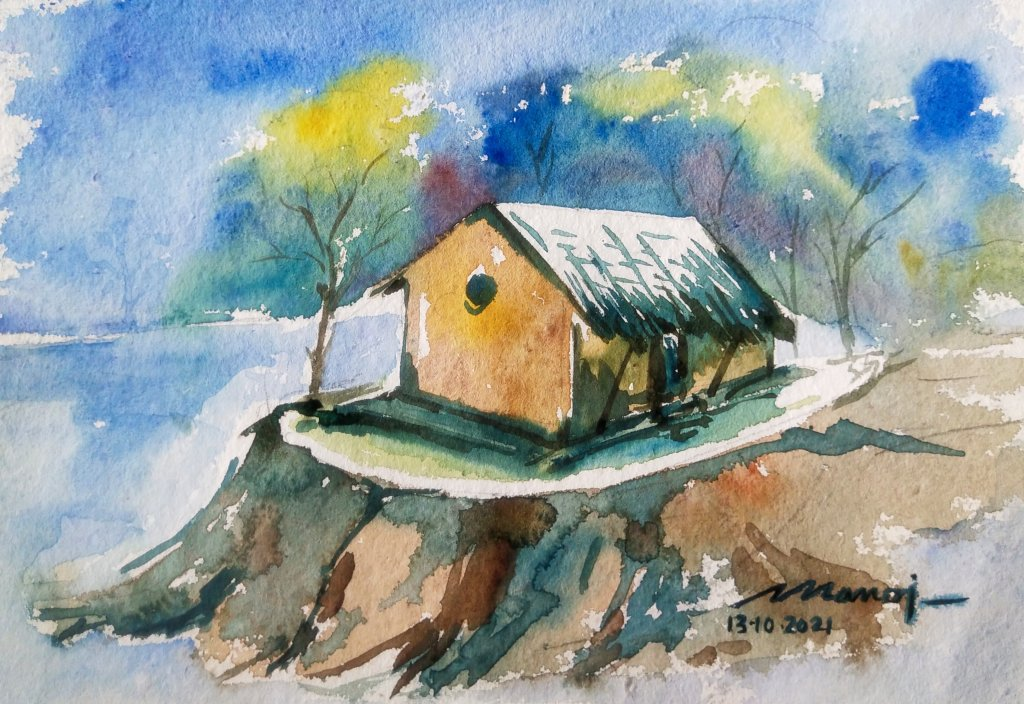 Dt: 13.10.2021 Sub: HOUSE Watercolour painting on handmade paper IMG_20211014_142925