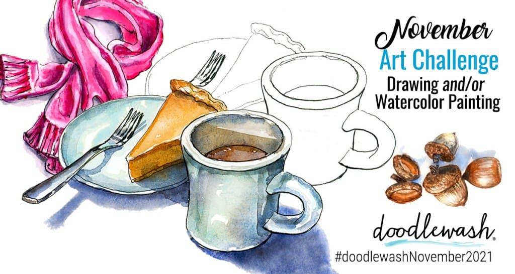 November 2021 Doodlewash Drawing Painting Challenge
