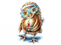 Owl Wearing Glasses Holding Candle Spooky Watercolor Illustration