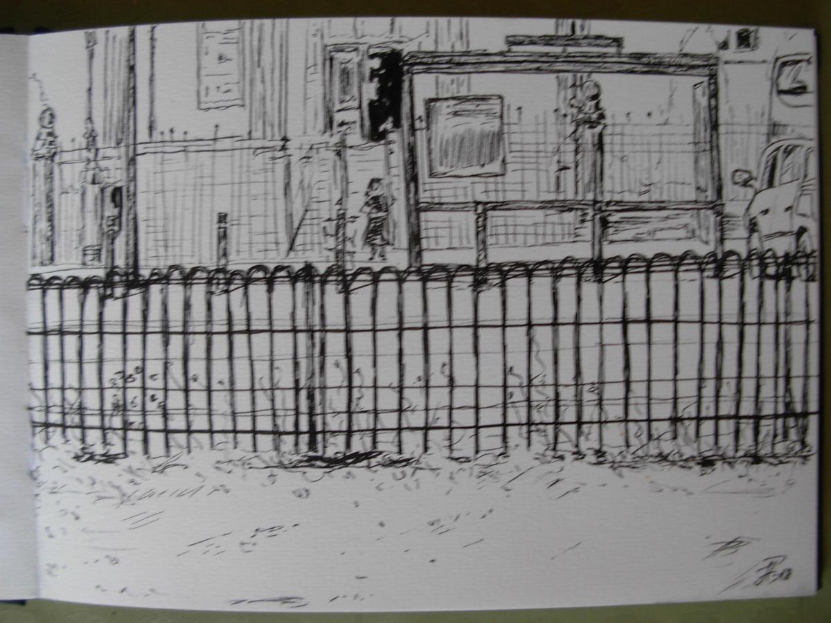 Ink pen in sketchbook