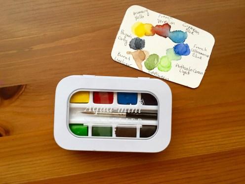 Sennelier Aqua-mini palette closed with paint swatch