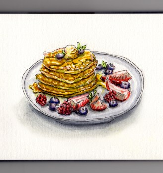 Eat What You Want Day Pancakes Doodlewash with berries syrup and butter