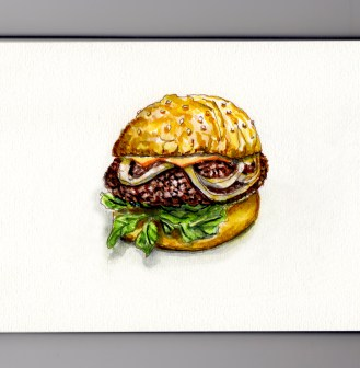 Doodlewash History of Hamburgers An American Story Watercolor of hamburger on bun with onions and lettuce