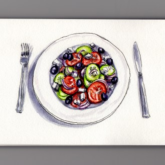 Traditional Greek Salad Doodlewash and watercolor sketch with Tomatoes, Feta Cheese, Red Onions, Kalamata Olives, and Cucumbers with knife and fork
