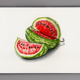 Watermelon So Good You'll Spit Doodlewash and watercolor of watermelon with seeds and slice out of it