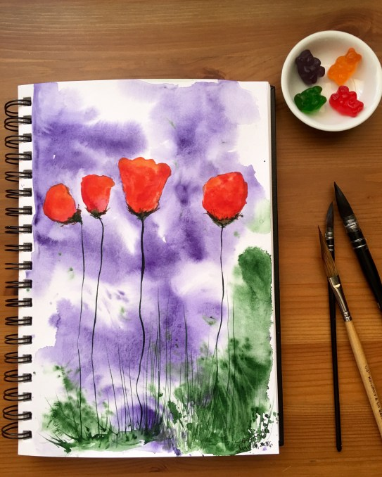 White Nights Watercolour 36 palette set flower painting by jessica seacrest- gummy Bear palette