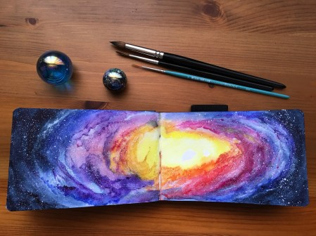 White Nights watercolor Nebula by jessica seacrest in a petalic watercolor journal.