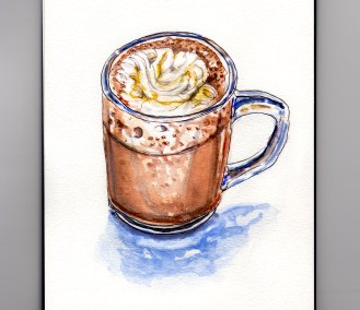 My Favorite Place to Relax - Home With My Sketchbook and Hot Chocolate With Homemade Whipped Cream #WorldWatercolorGroup