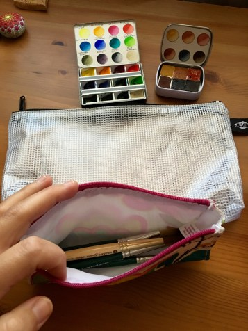 Cheap Joes American Journey and golden fleece Travel brushes and da vinci cosmotop spin travel brush Mochi Things Better Together note pouch v3 watercolor travel setup, alivin mesh bag, redwood willow watercolors, whiskey painters palette