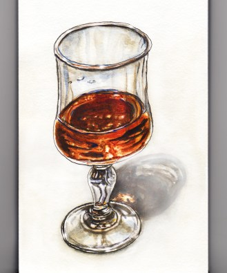 Day 13 #WorldWatercolorGroup A Taste of Cognac Glass of Cognac on white background watercolor painting