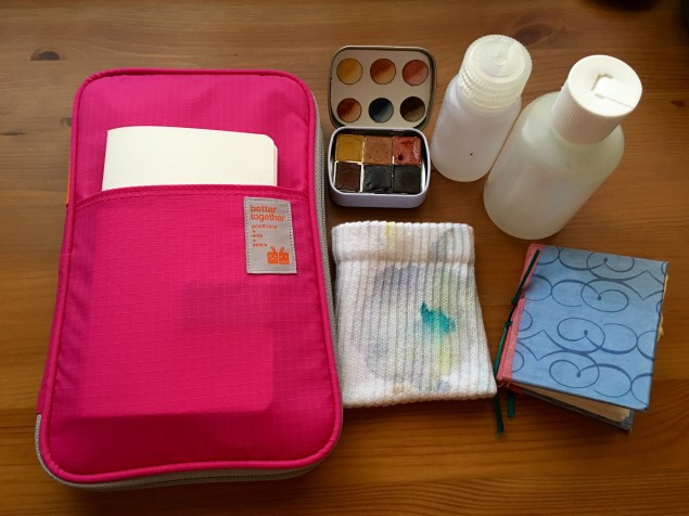 Cheap Joes American Journey and golden fleece Travel brushes and da vinci cosmotop spin travel brush Mochi Things Better Together note pouch v3 watercolor travel setup, redwood and willow watercolors