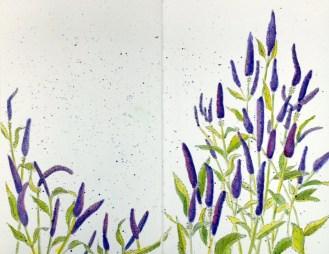 #Doodlewash - Watercolor by Annie Glacken - Stillman & Birn sketchbook Purple Flowers - #WorldWatercolorGroup