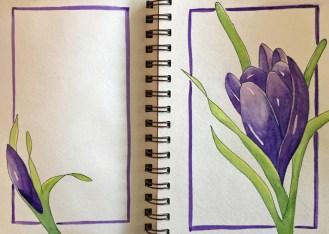 #Doodlewash - Watercolor by Annie Glacken - Strathmore sketchbook purple flowers - #WorldWatercolorGroup