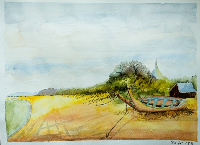 #WorldWatercolorGroup Watercolor painting by Daniel Trump of boat - #doodlewash