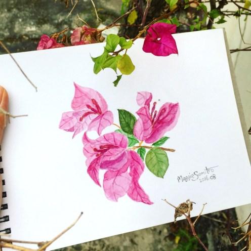 #WorldWatercolorGroup - Watercolor by Maggie Sumitro - Neighbor's Flower - #doodlewash