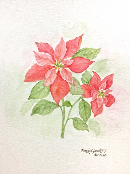 #WorldWatercolorGroup - Watercolor by Maggie Sumitro - Poinsettia - #doodlewash