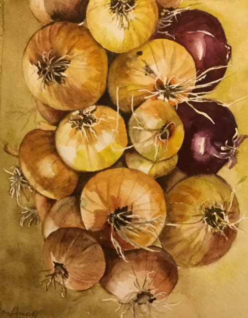 #WorldWatercolorGroup - Watercolor painting by Mimi Dimova of onions - #doodlewash