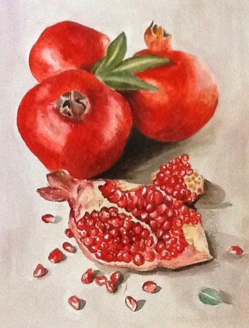#WorldWatercolorGroup - Watercolor painting by Mimi Dimova of pomegranates - #doodlewash