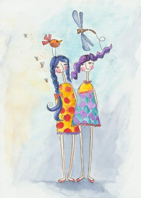#WorldWatercolorGroup - Watercolor Painting By Rita Drysdall of school girls - #doodlewash