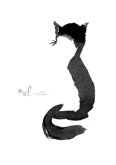 #WorldWatercolorGroup - Painting By Rita Drysdall - Watercolour Sumi Cat - #doodlewash