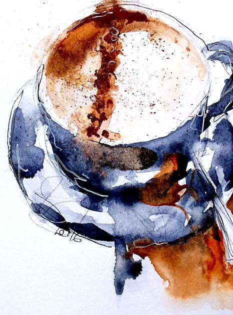 #WorldWatercolorGroup - Watercolor painting by Leonie Cheetham of purple blue cappuccino - #doodlewash
