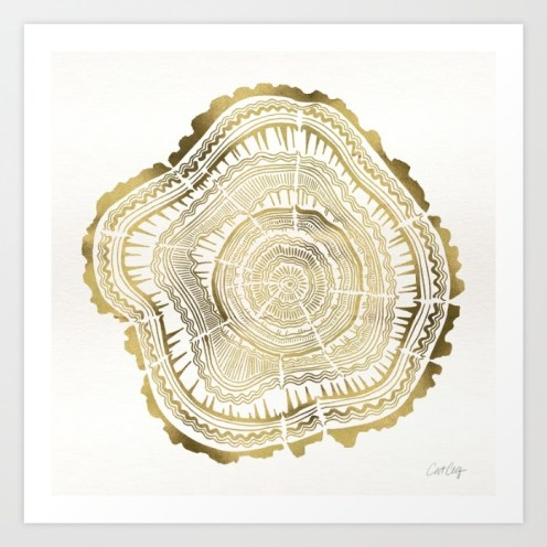 #WorldWatercolorGroup - Watercolor Art by Cat Coquillette - Gold Rings Art Print - #doodlewash