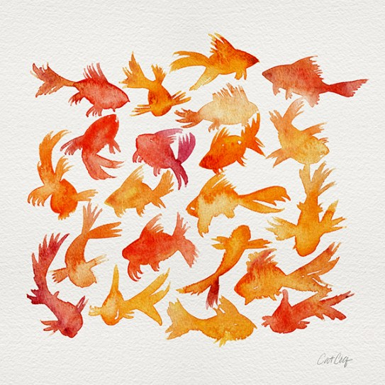 #WorldWatercolorGroup - Watercolor Art by Cat Coquillette - Goldfish - #doodlewash