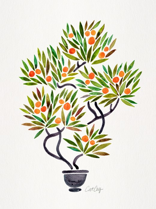 #WorldWatercolorGroup - Watercolor Art by Cat Coquillette - Bonsai Orange Tree - #doodlewash