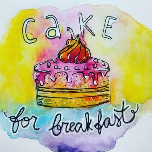 #WorldWatercolorGroup - Watercolor sketch by Volta Voloshin-Smith of Color Snack - Cake For Breakfast - #doodlewash