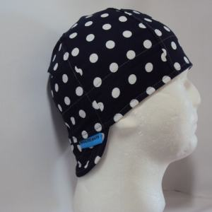 Polka dots white on navy