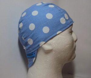 Polka Dots White On Lt Blue Welding Hat