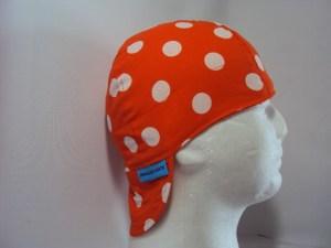 Polka Dots White On Orange Welding Hat