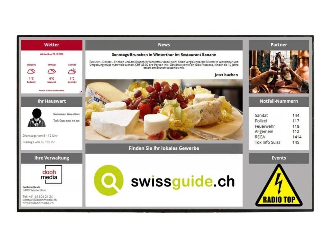 Digitale Haustafel CMS Informationsanzeige Beispiel