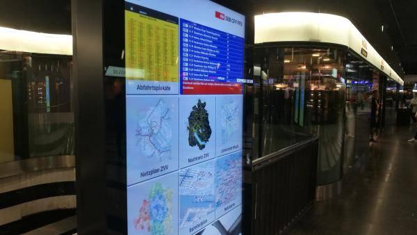 SBB Digitaler Screen für Informationsanzeige