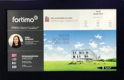 Digitale Haustafel fortimo Informationsanzeige im Screen