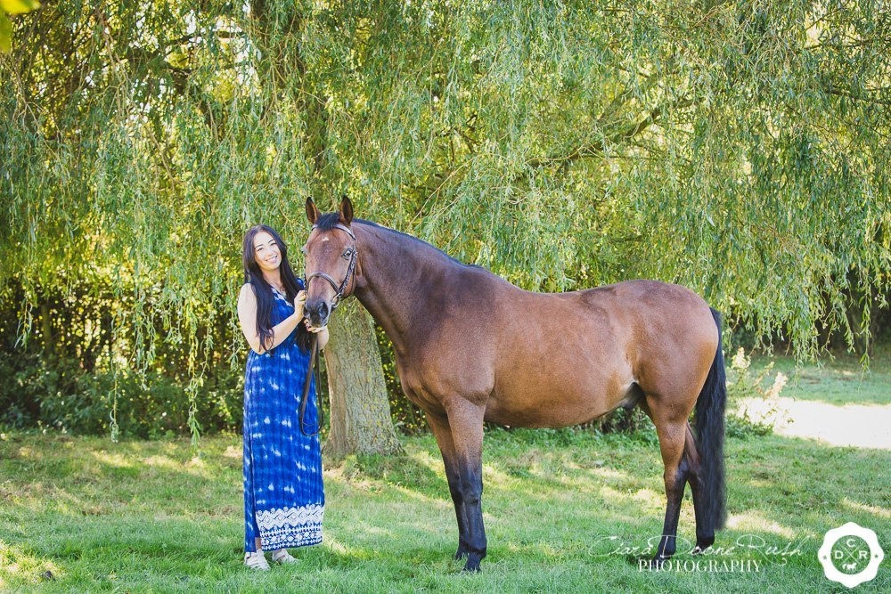 horse and rider under a willow tree merseyside