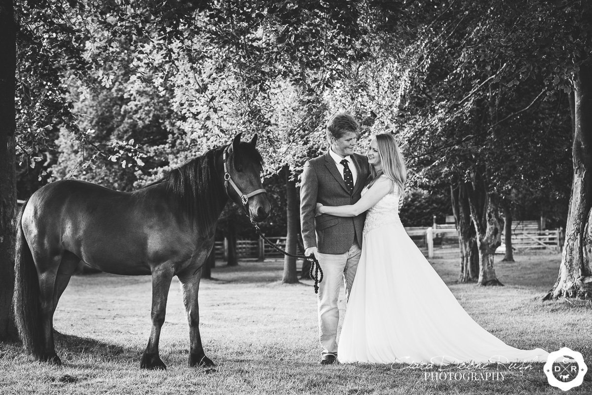 a photo shoot of a bride and her horse