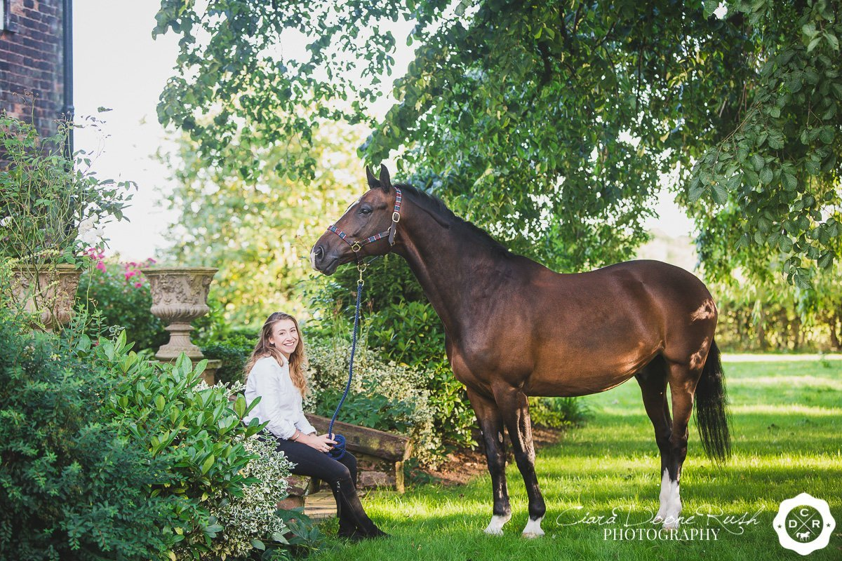 on location at home in cheshire for a Horse and rider photo shoot
