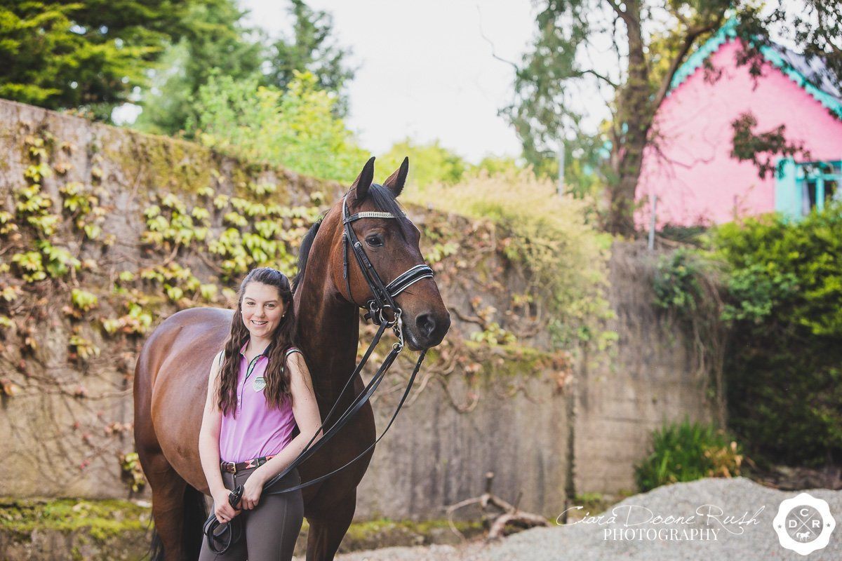 on location in blarney for a Horse and rider photo shoot