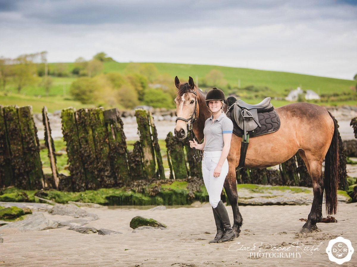 on location at harbour view beach for a Horse and rider photo shoot