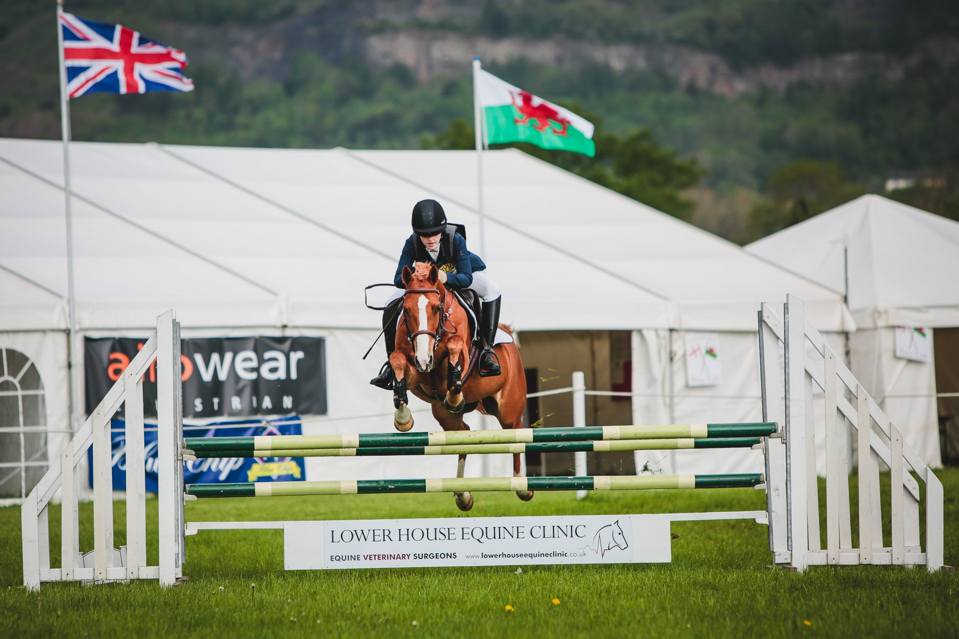 show jumping at Llanymynech horse trials