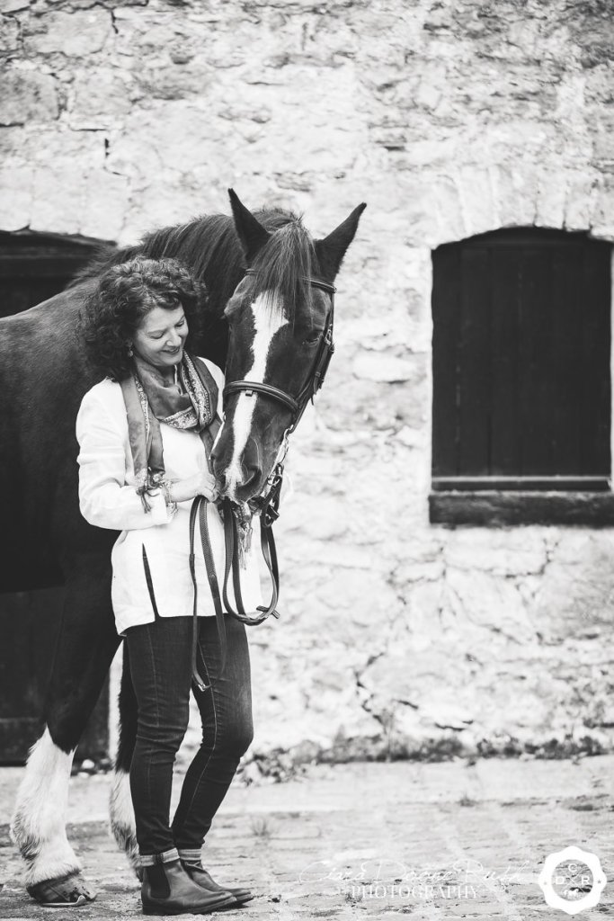 black and white horse and rider photo shoot