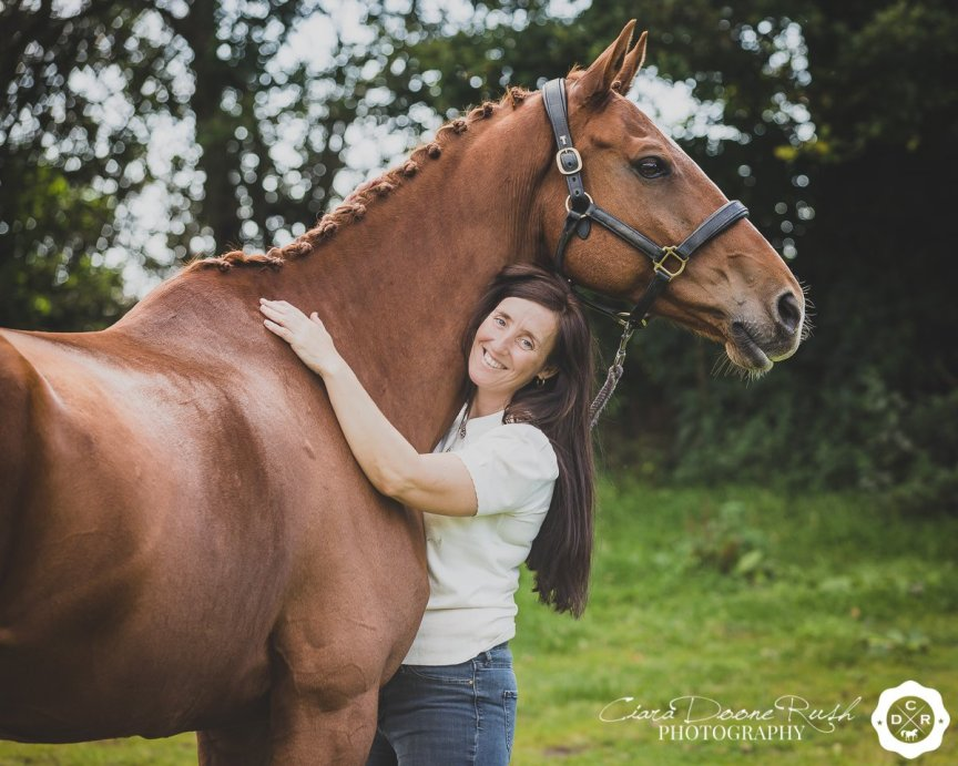 a rider and her horse on a photo shoot