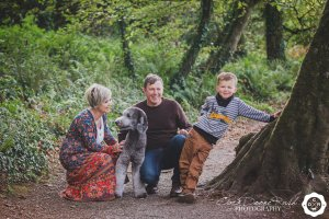 a family and animal photo shoot in Courtmacsherry woods