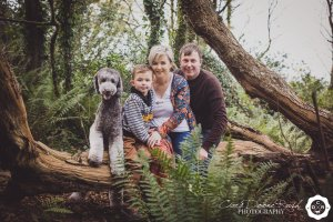 a family and animal photo shoot Courtmacsherry woods