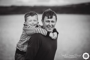a boy and his dad on a photo shoot