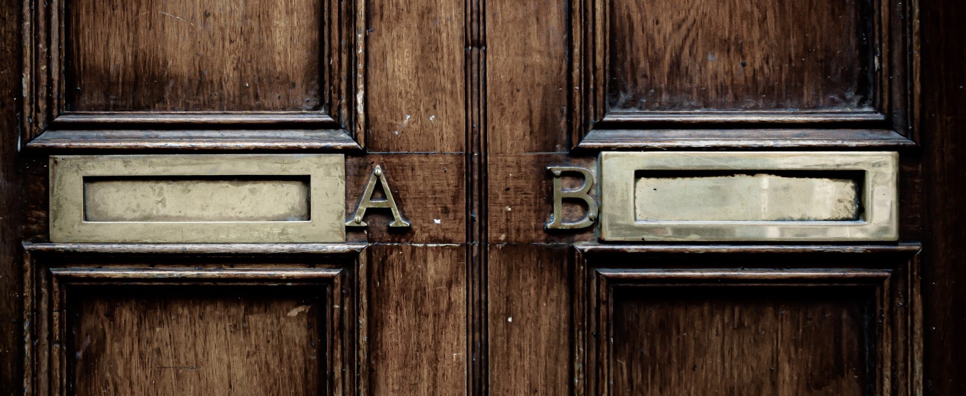 Door with A and B mail slots