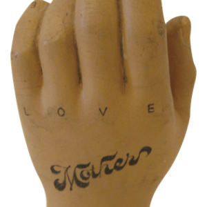 Tattoo Artist Decorated Wooden Hand - Hate Love Mother