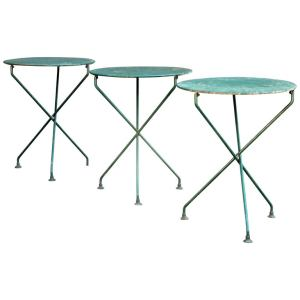 Old Painted Steel X Base Garden Bistro Tables